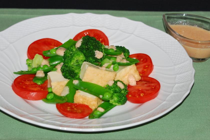 絹厚揚げと野菜の明太子ソースがけサラダ♪