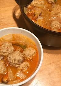 肉団子と春雨のキムチ鍋