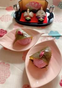 ピンクの道明寺で桜餅