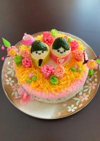雛祭りのお祝い☆ちらし寿司ケーキ☆