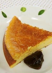 ベイクドチーズケーキにブルーベリージャム