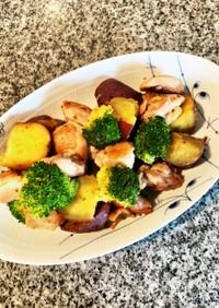 温野菜と鶏肉のカラフルホットサラダ