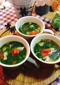 モロヘイヤとトマトのにんにくスープ