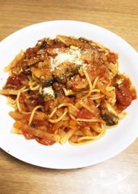 オイルサーディンと大根のトマトスパゲティ