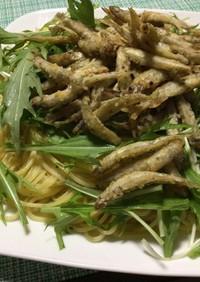 ワカサギと水菜のパスタ