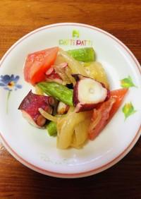 タコと野菜のオリーブオイルわさびマリネ