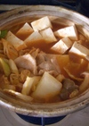 キムチ鍋の素で一人鍋→キムチーズ雑炊
