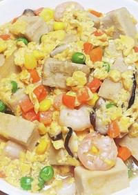 ポンのベジと海老と高野豆腐の卵とじ