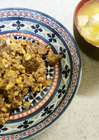 ✨牛肉の卵あんかけ&キャベツ豆腐の味噌汁
