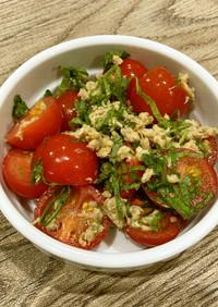 焼き塩サバとトマト青じそサラダ