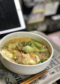 豆乳坦々麺風スープ