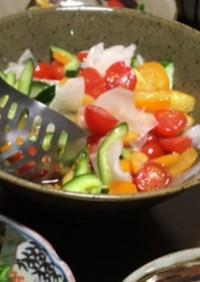 野菜と金柑のかんたん酢サラダ