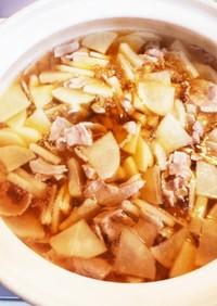 大根と豚バラ肉のスープ、春甘鍋!
