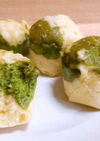 緑茶のマーブル蒸しパン