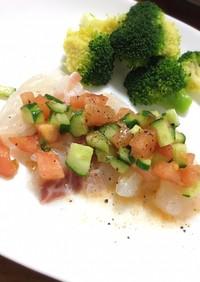 鯛のカルパッチョ トマトときゅうりのっけ