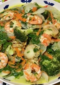 わさび菜と新玉葱のシーフード炒め