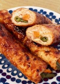 しゃきしゃきレンコンの鶏つくね野菜巻き