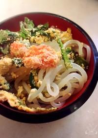 しらたきと明太子(たらこ)と春菊の卵炒め