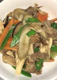 牛肉と牛蒡と茸の青ネギ甘辛炒め