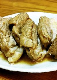 豚ばらブロックの黒酢煮豚。