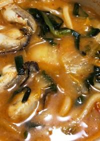 『小鍋でそのまま』牡蠣のキムチ鍋うどん