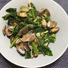 かき菜とあさりのガーリックソテー