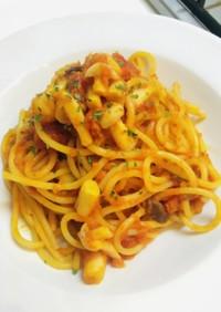 ブナピーとオリーブのトマトパスタ
