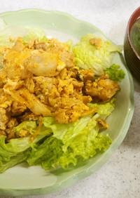 ✨豚肉とキムチの卵炒め&ほうれん草味噌汁