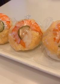 梅干し大豆酢飯のエビと卵丸寿司花見弁当