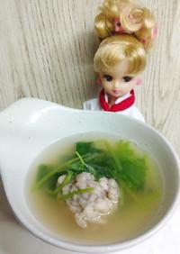 リカちゃん♡三つ葉とあじのつみれ汁