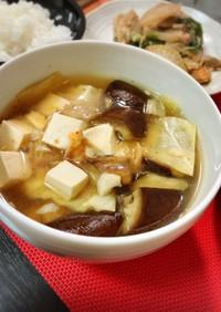 茄子とキャベツのキムチ味噌汁