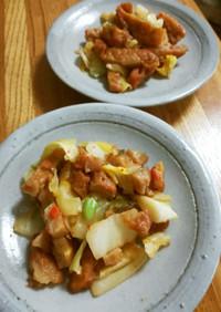 野菜入り薩摩揚げとキャベツの炒めもの