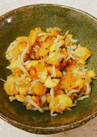 押し大豆(うちまめ)の酢醤油炒め