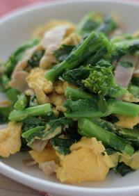 のらぼう菜と卵ベーコンのマヨ炒め