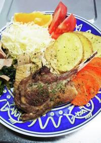簡単♪ラムチョップと野菜のスパイシー焼き