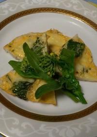 菜の花とチーズのオープンオムレツ☆