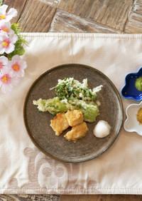 お花見に!春野菜ととらふぐの天ぷら
