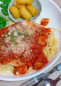 【簡単】魚介のトマトソースパスタ