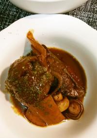 ピーマン肉詰めの赤だし味噌煮