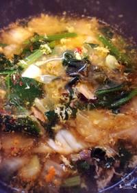 鯖缶とほうれん草のキムチスープ