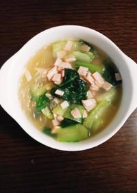 簡単☆牛肉だしのチンゲン菜の春雨スープ
