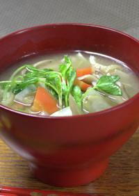 今日の味噌汁★豆苗と根菜の味噌汁【動画】