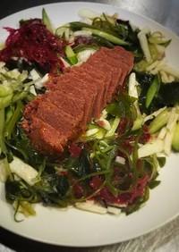 山芋、キュウリ、コンビーフの海藻サラダ