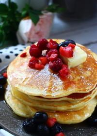 贅沢な朝食♡米粉のもっちりパンケーキ