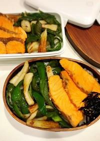 今日ものっけ弁当(焼魚と野菜炒め)