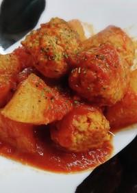 大根とチーズつくねのトマトソース煮