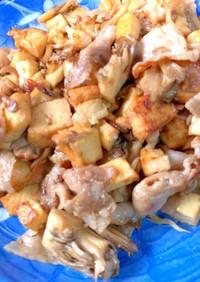 豚バラと厚揚げと舞茸の簡単炒め