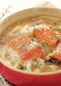 秋鮭のオニオングラタン風スープ