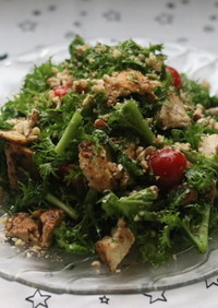美肌効果♪わさび菜とハーブチキンのサラダ
