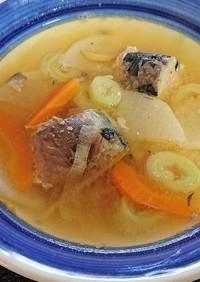 サバ水煮缶の味噌味スープ